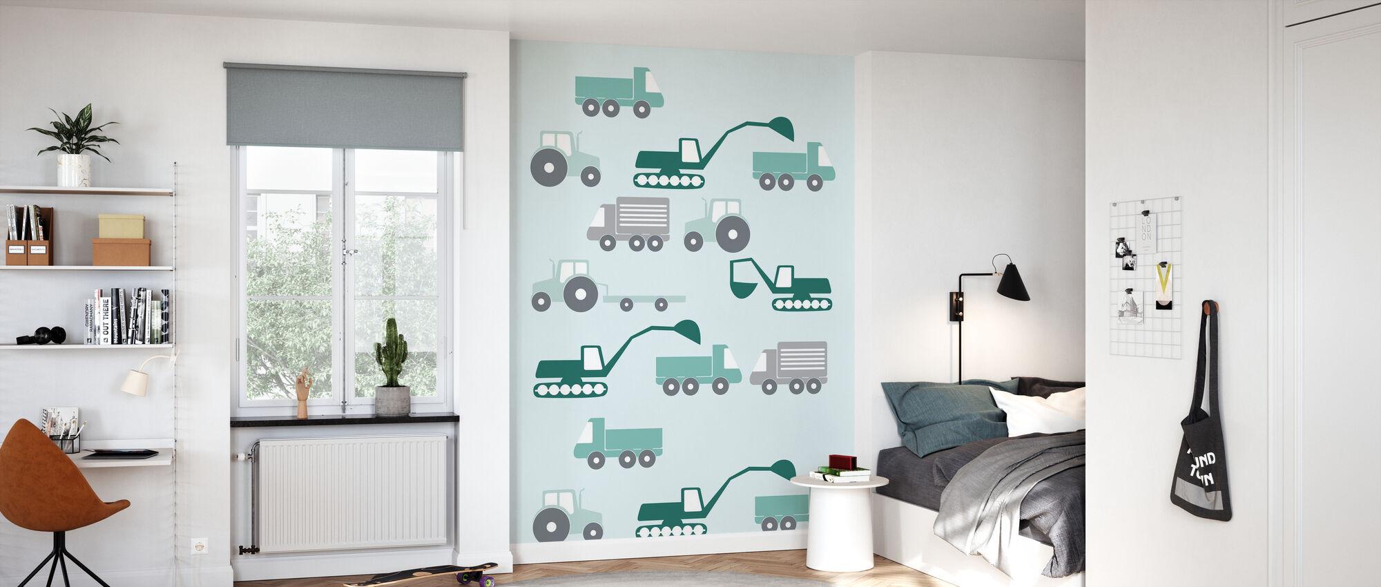 Heavy Vehicles - Green - Wallpaper - Kids Room