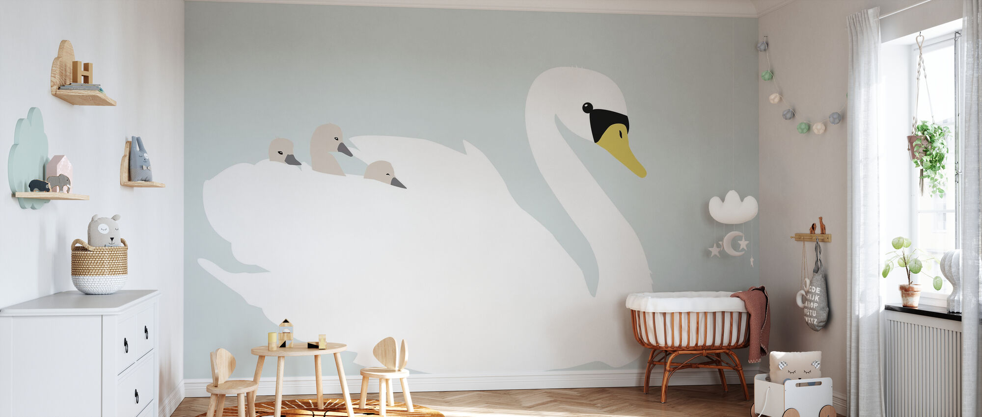 Swan Mom - Green - Wallpaper - Nursery