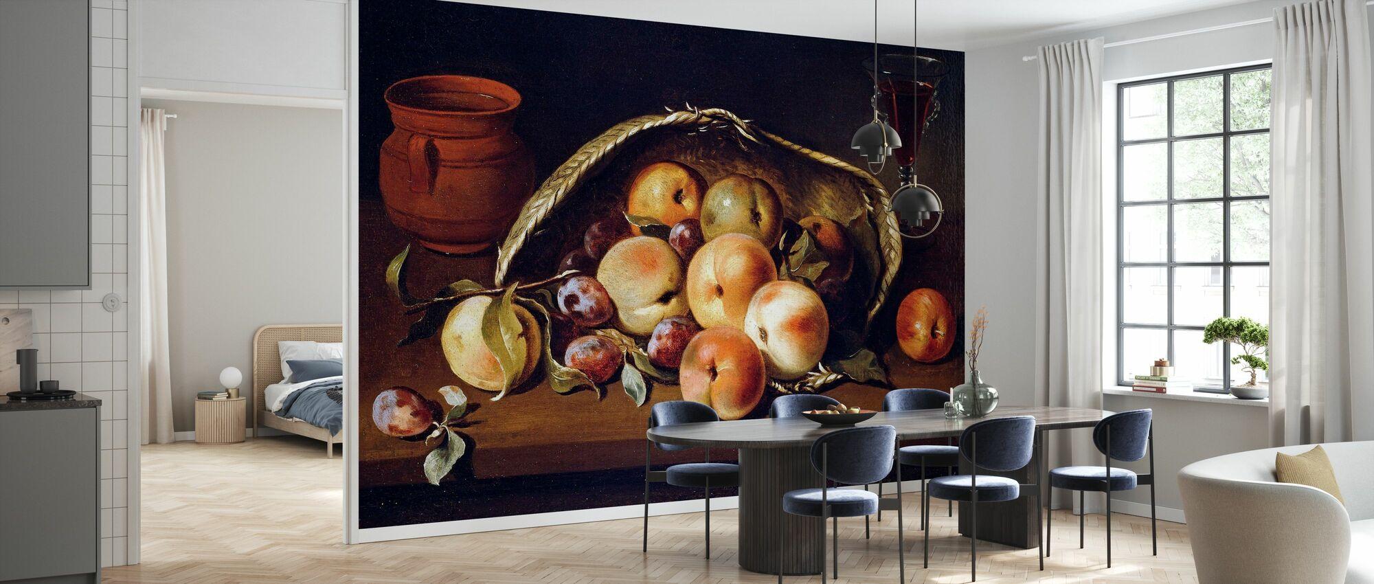 Korb mit Pfirsichen und Pflaumen - Infographics - Tapete - Küchen