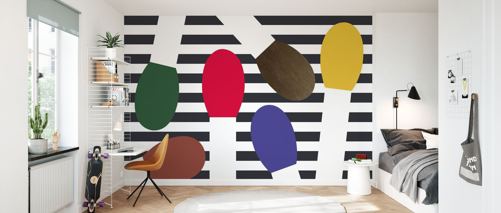 Matches and Stripes - Wallpaper - Kids Room