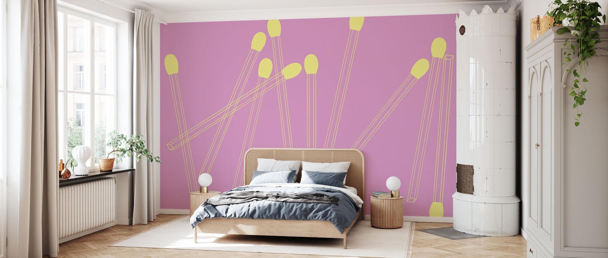 Bijpassende lijnen - Banana Pink - Behang - Slaapkamer