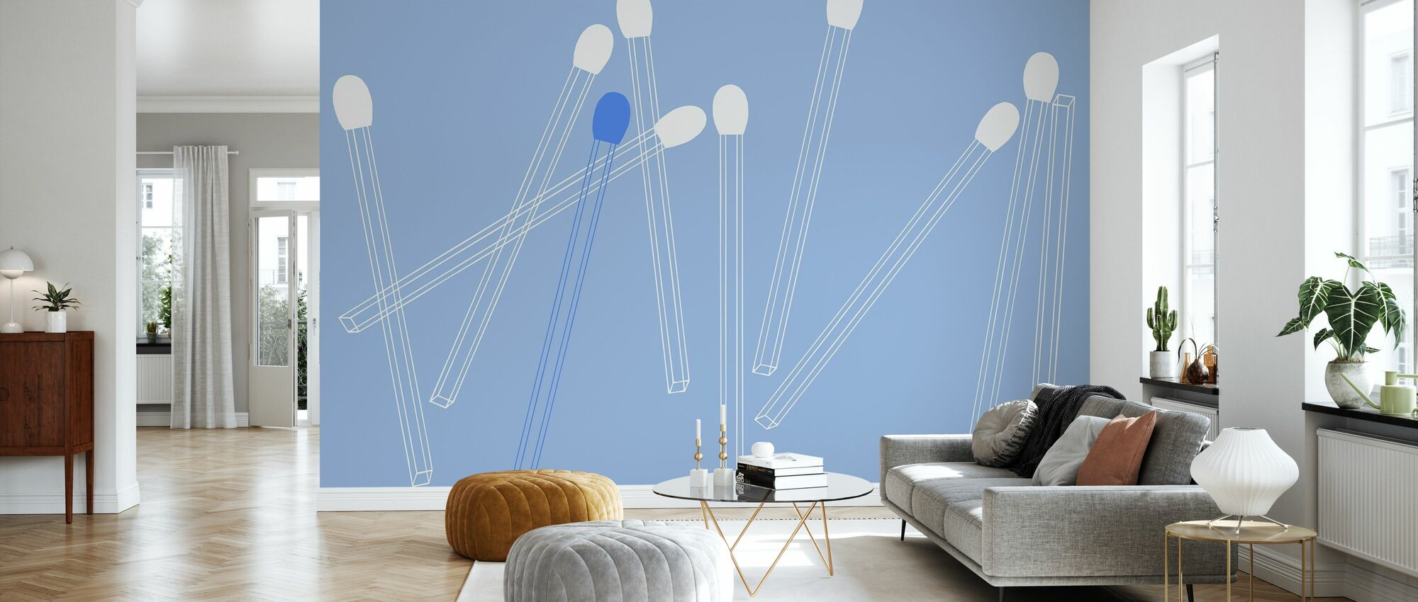 Matching Lines - Chirpy Blue - Wallpaper - Living Room