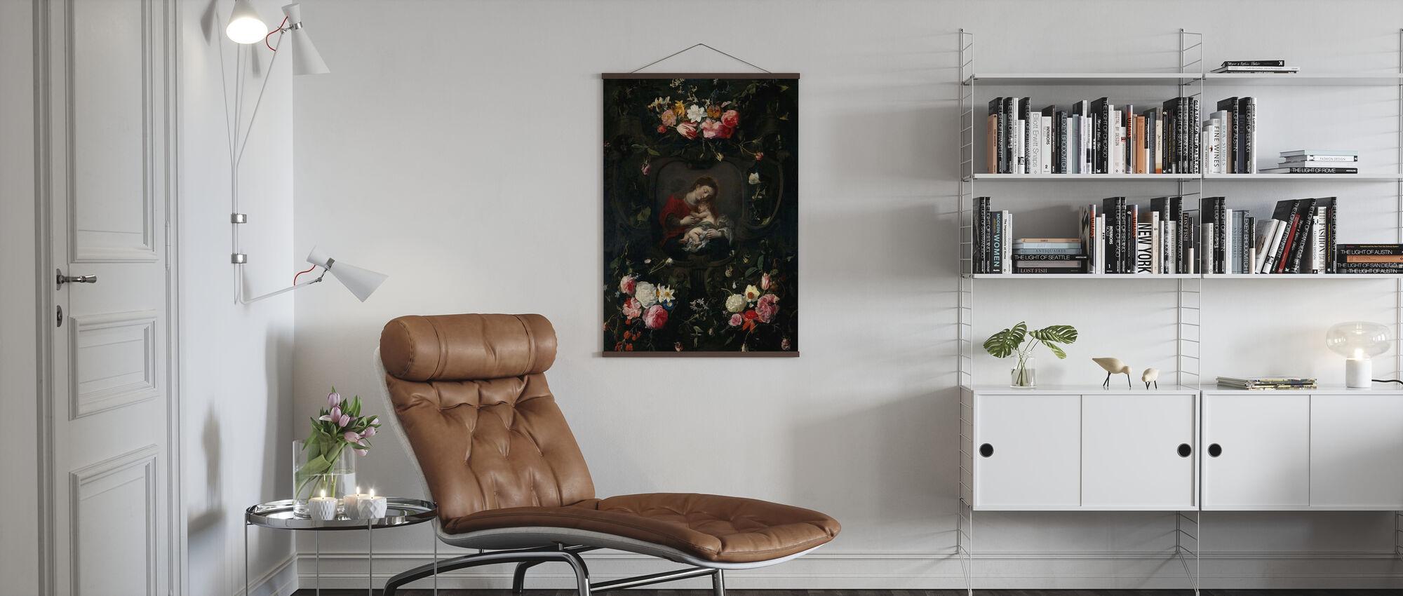 Girlande mit der Jungfrau und Kind - Daniel Seghers - Poster - Wohnzimmer
