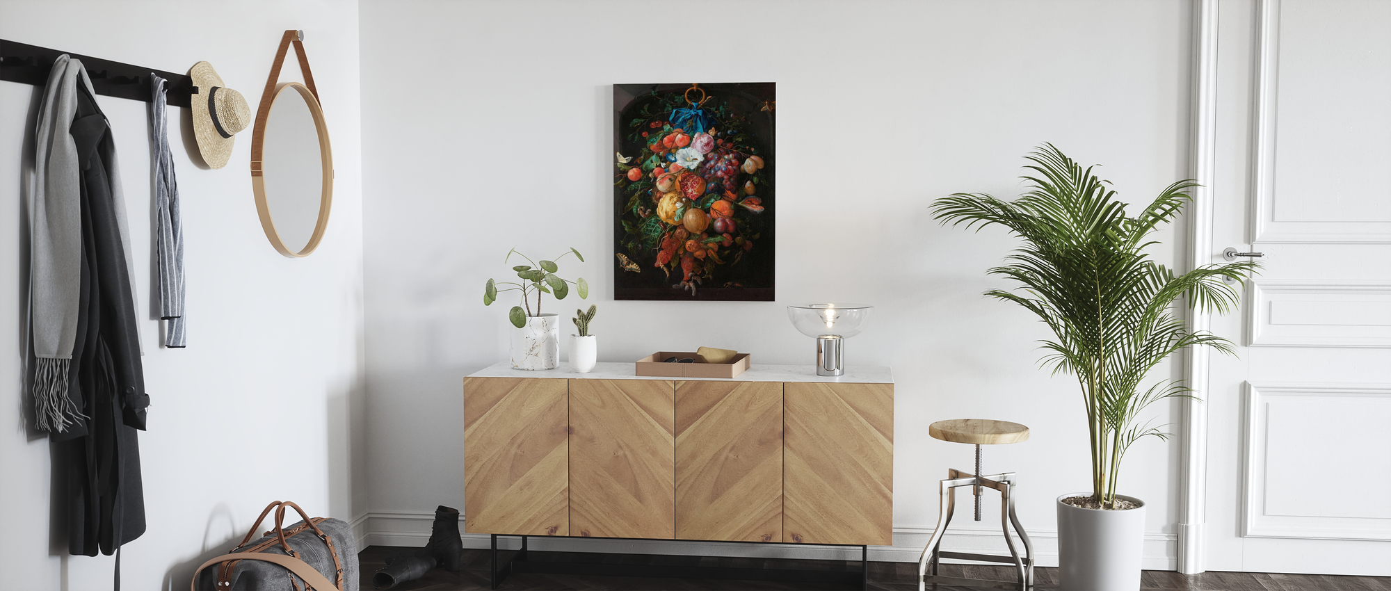 Jan Davidsz de Heem 15 x 18 inches Fruit Cross Stitch Festoon of Fruit and Flowers Cross Stitch Kit