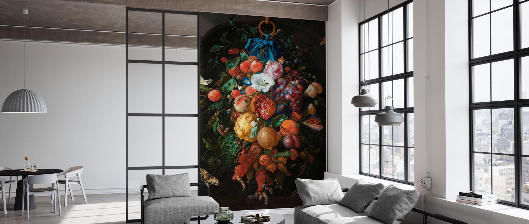Girlande von Früchten und Blumen - Jan Davidsz De Heem - Tapete - Büro