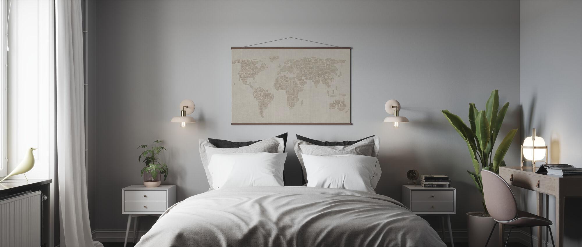Verden Menu Kort - Beige - Plakat - Soverom