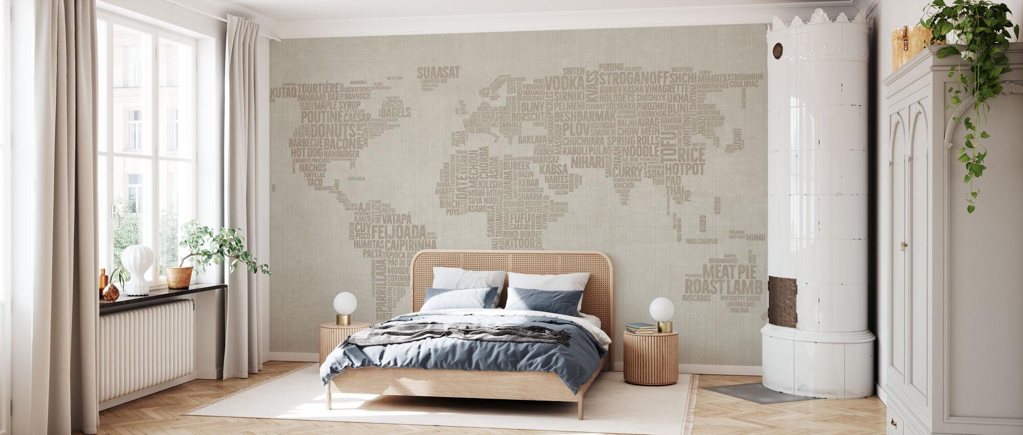 Weltmenü Karte - Beige - Tapete - Schlafzimmer