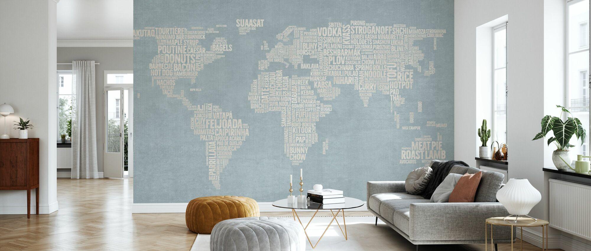 Weltmenükarte - Blau - Tapete - Wohnzimmer