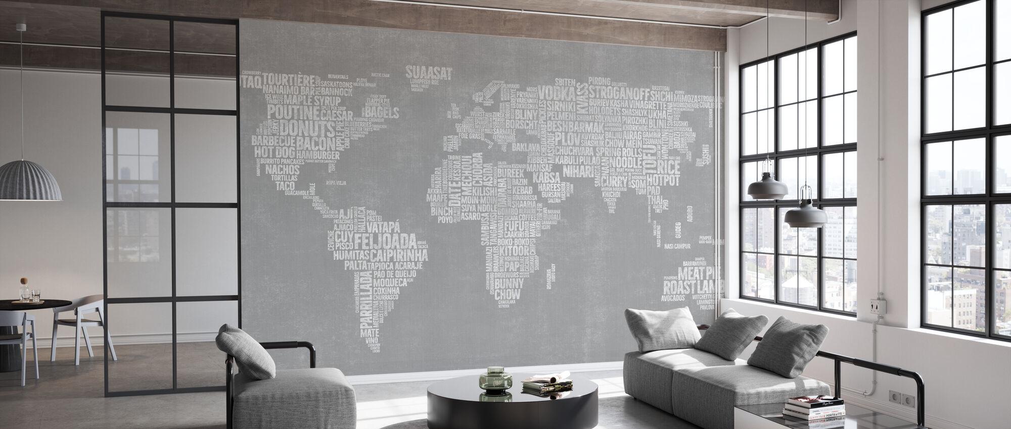 Menykart over verden - Grå - Tapet - Kontor