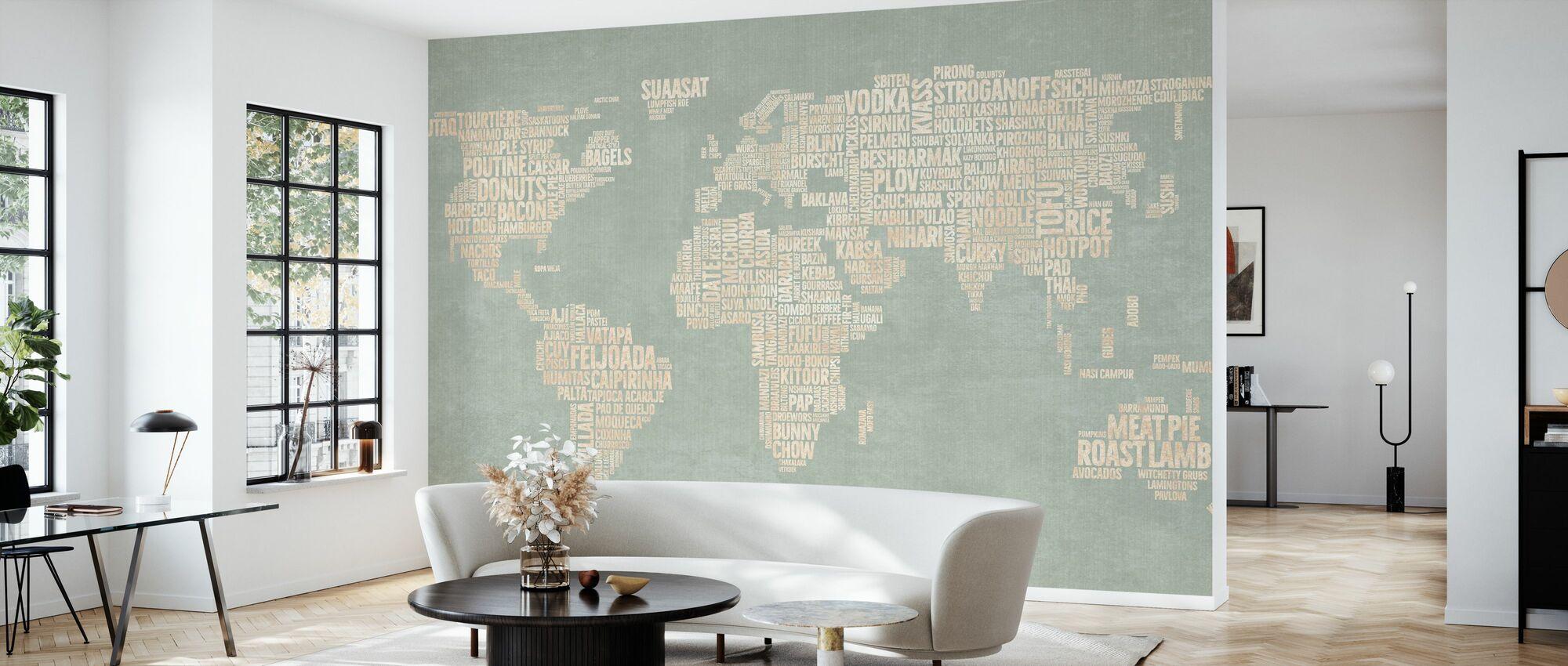 World Menu Map - Green - Wallpaper - Living Room