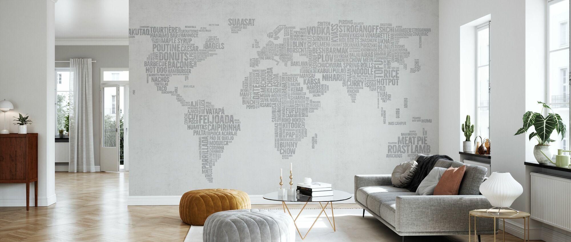 Verden Menu Kart - Lys Grå - Tapet - Stue
