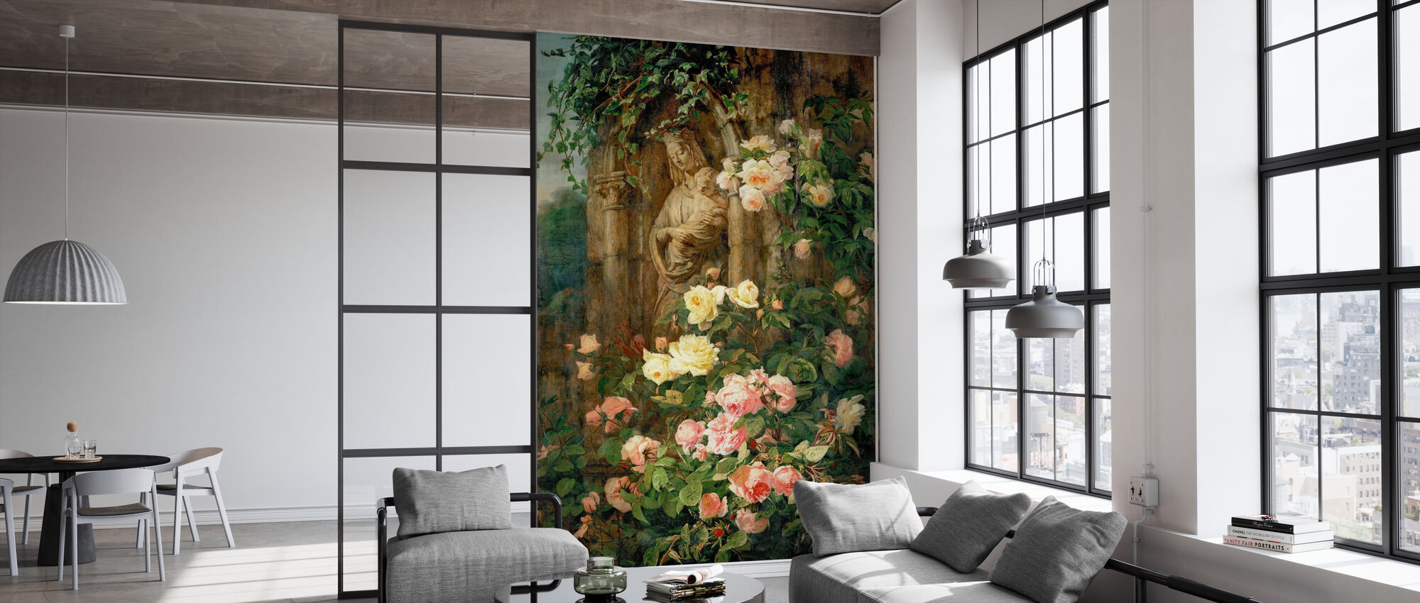 Mother Mary Rose Flower - Simon Saint Jean - Wallpaper - Office