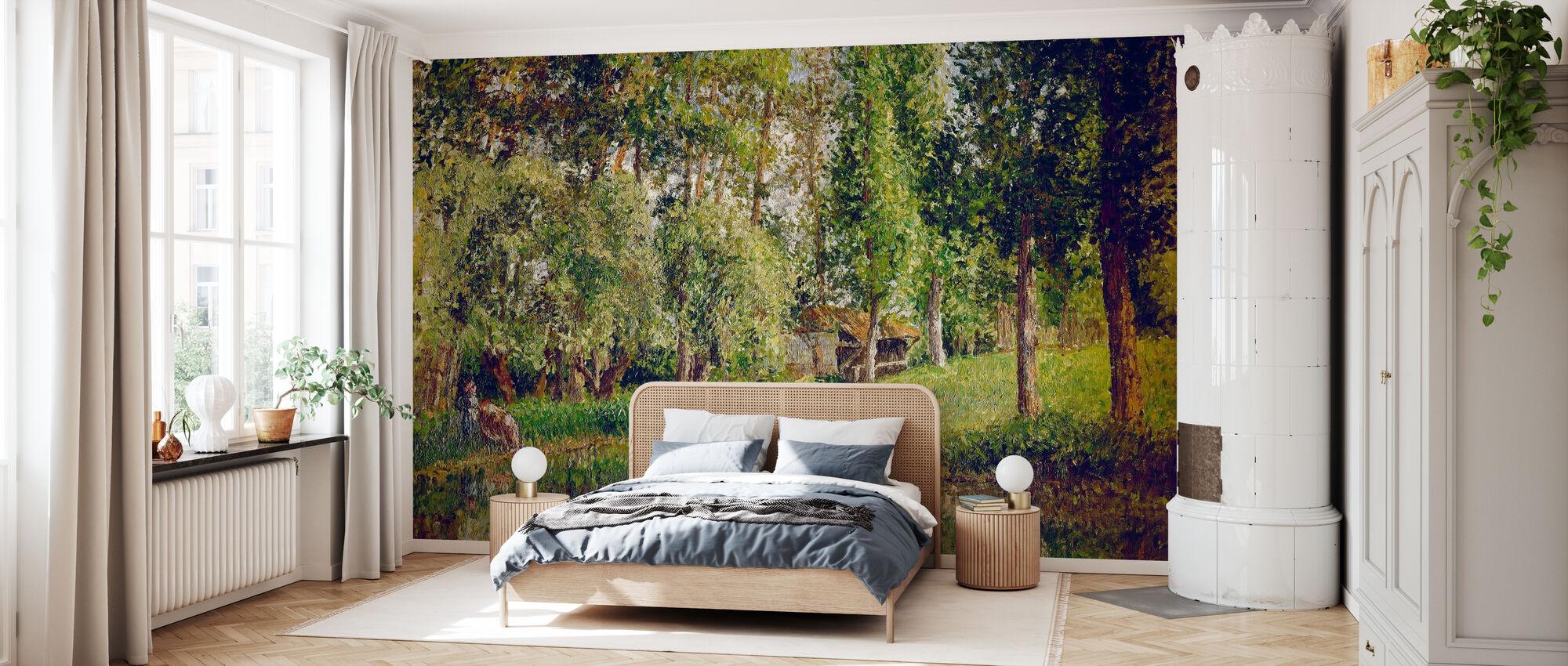 Waschhaus in Bazincourt - Camille Pissarro - Tapete - Schlafzimmer