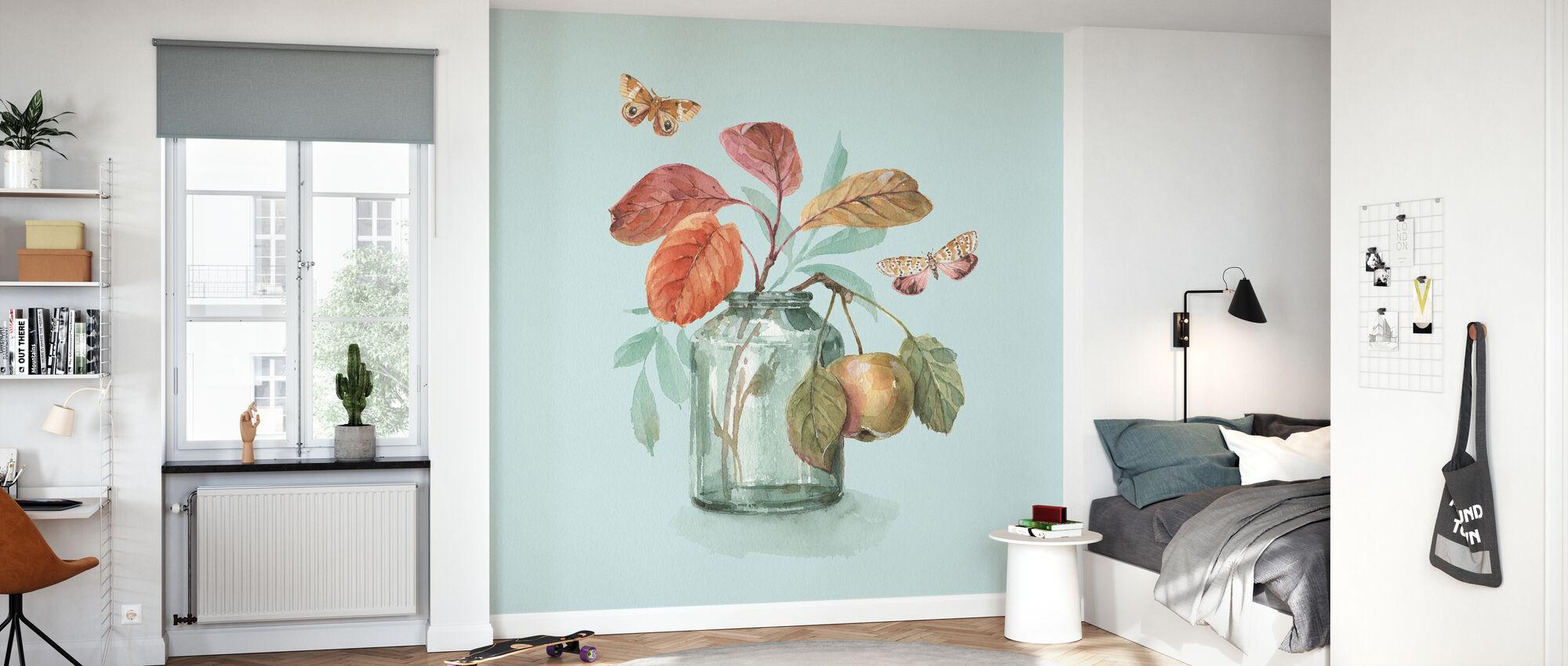 Autumn in Nature - Aqua - Wallpaper - Kids Room