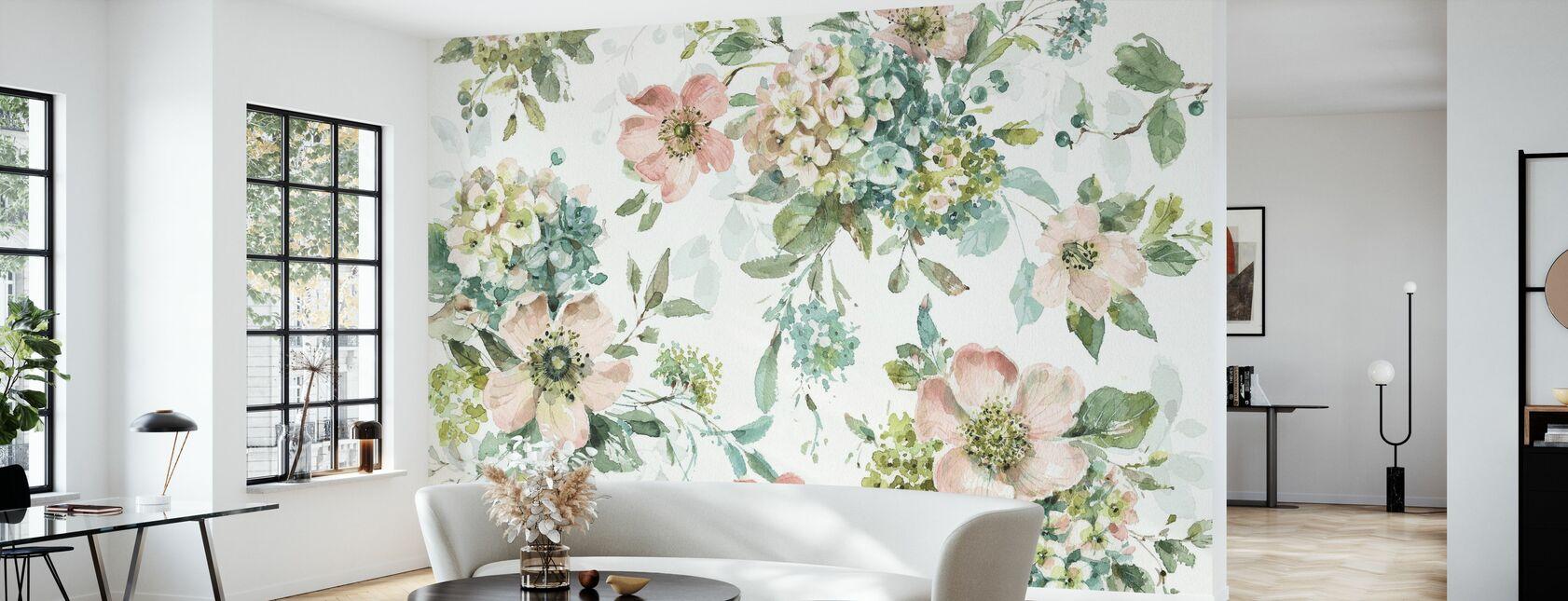 Mint Crush - White - Wallpaper - Living Room