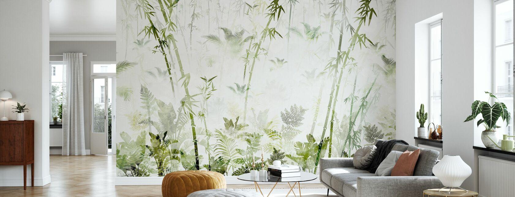 Verde de bambú - Papel pintado - Salón