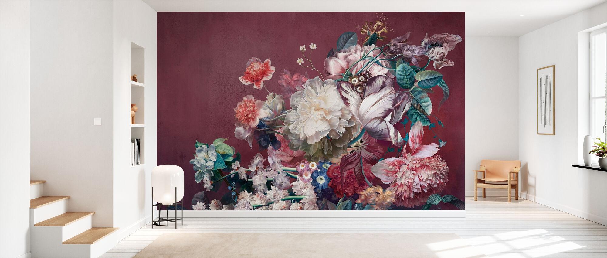 Burgunder-Blumen - Tapete - Flur
