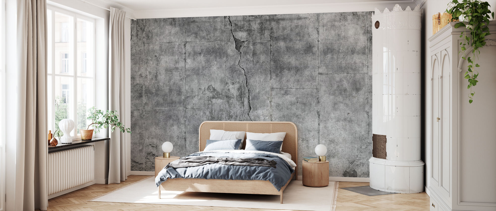 Dirty Cracked Concrete Wall - Wallpaper - Bedroom