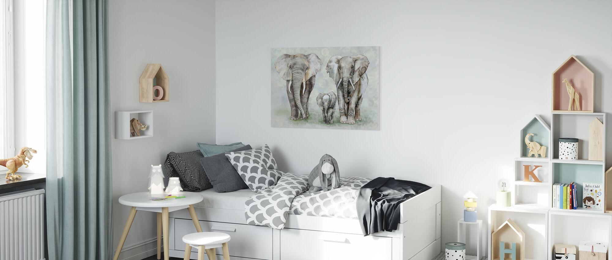 Elephant Family - Canvas print - Kids Room