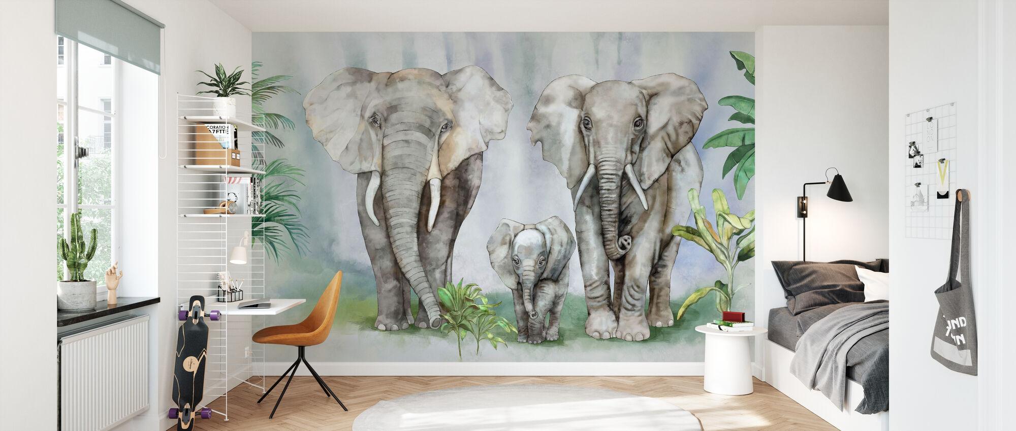 Elephant Family Ii Trendy Wall Mural Photowall
