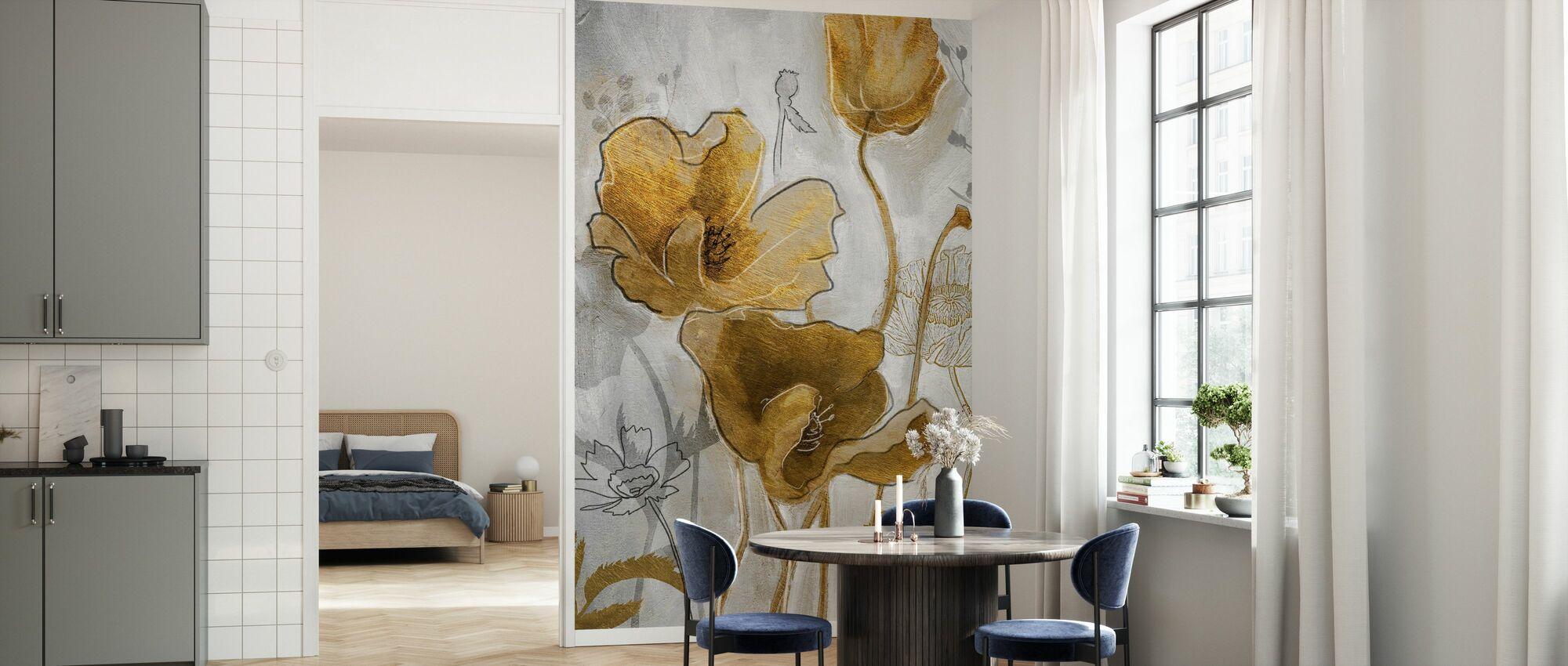 Gold Silver Flowerfield - Wallpaper - Kitchen