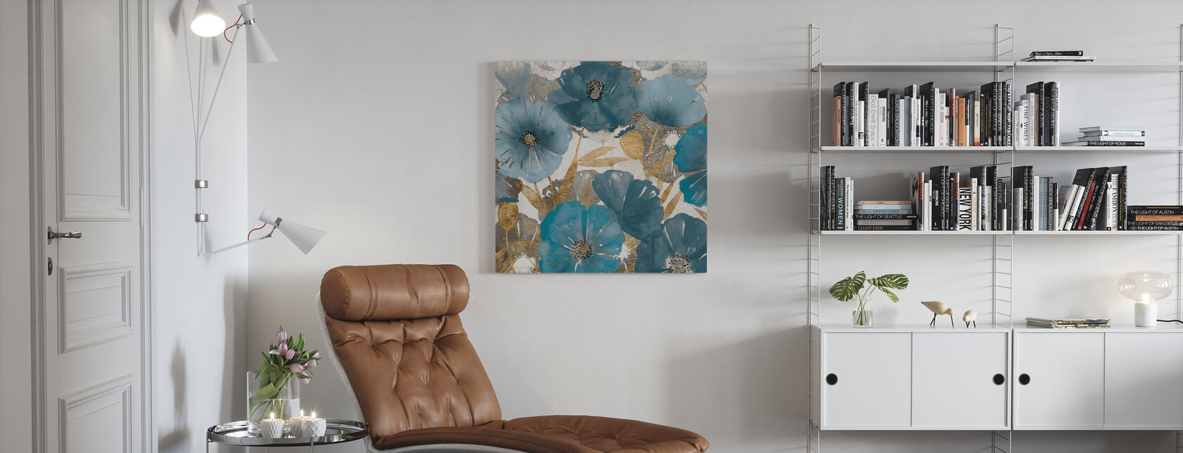 Blue and Gold Poppies - Canvas print - Living Room