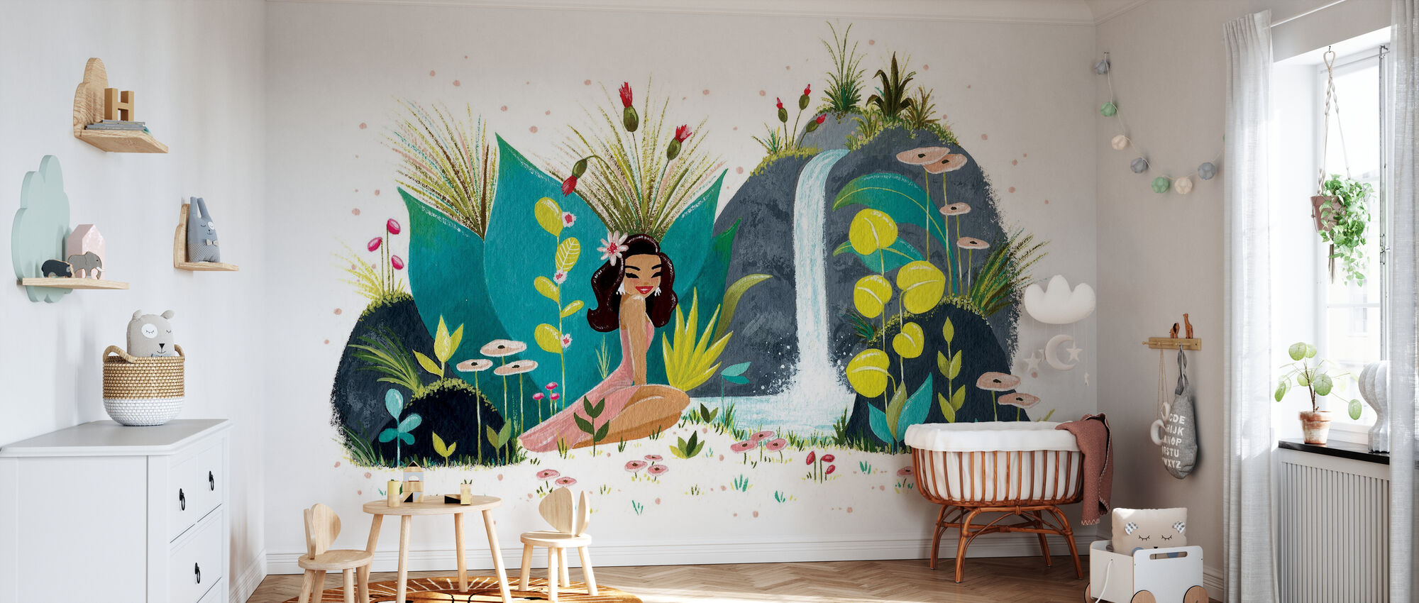 Tiki Waterfall - Wallpaper - Nursery
