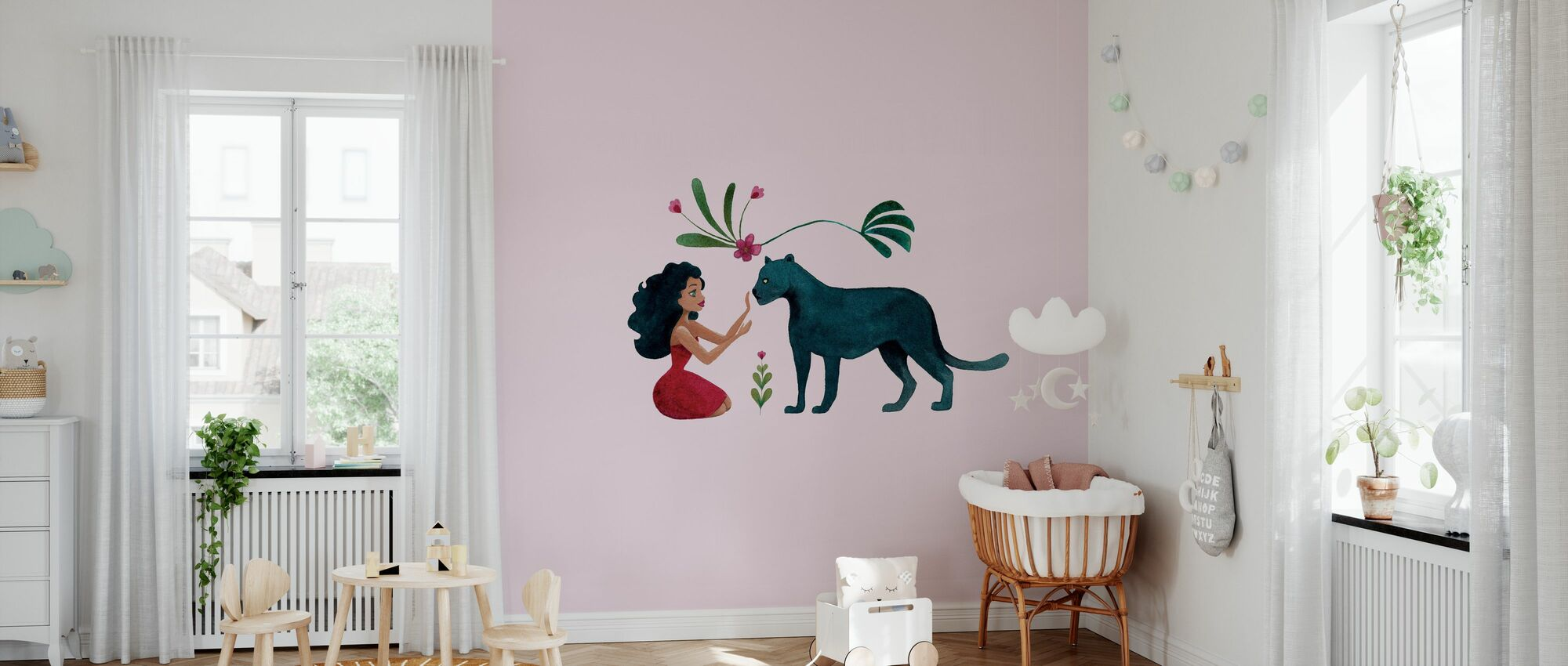 Panther with a Girl - Wallpaper - Nursery
