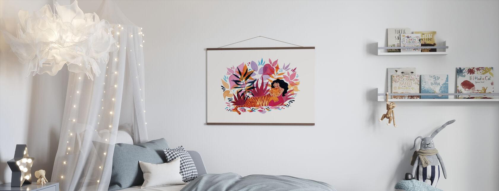 Tijger met een Meisje - Poster - Kinderkamer