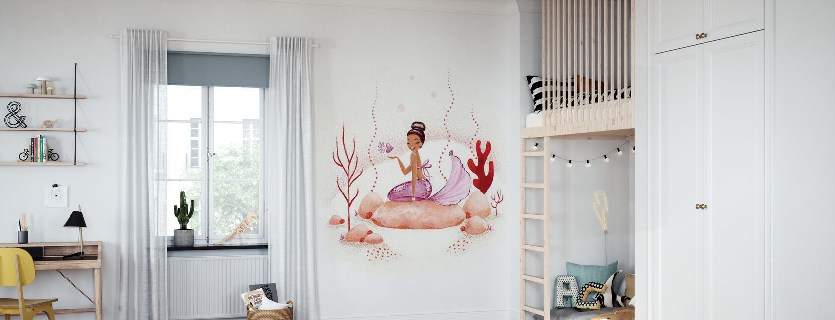 Zeemeermin Koraal - Behang - Kinderkamer