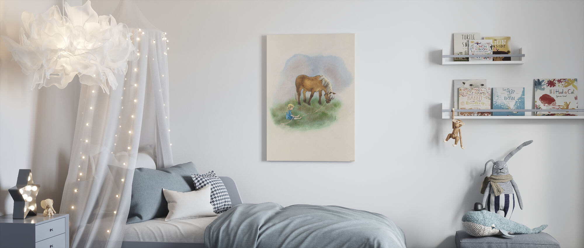 Girl and Horse - Canvas print - Kids Room