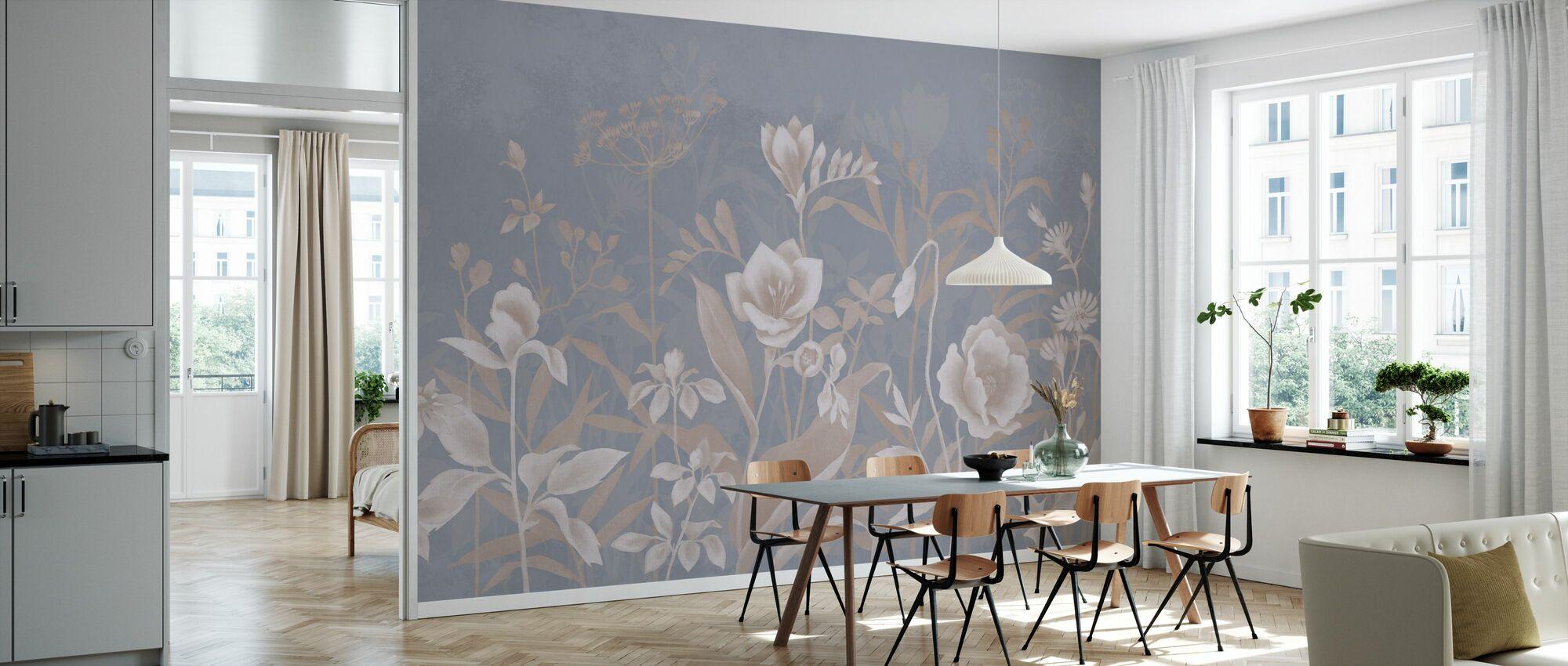 Lett Botanisk - Blå Sepia - Tapet - Kjøkken