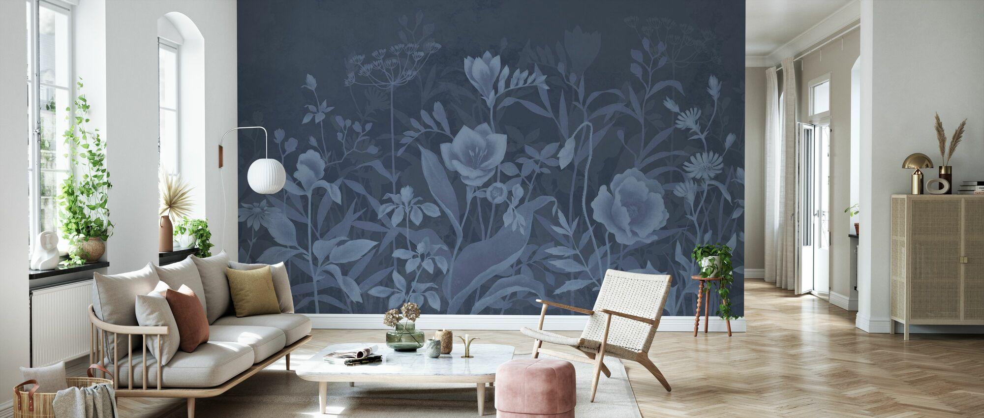 Lett Botanisk - mørk blå - Tapet - Stue
