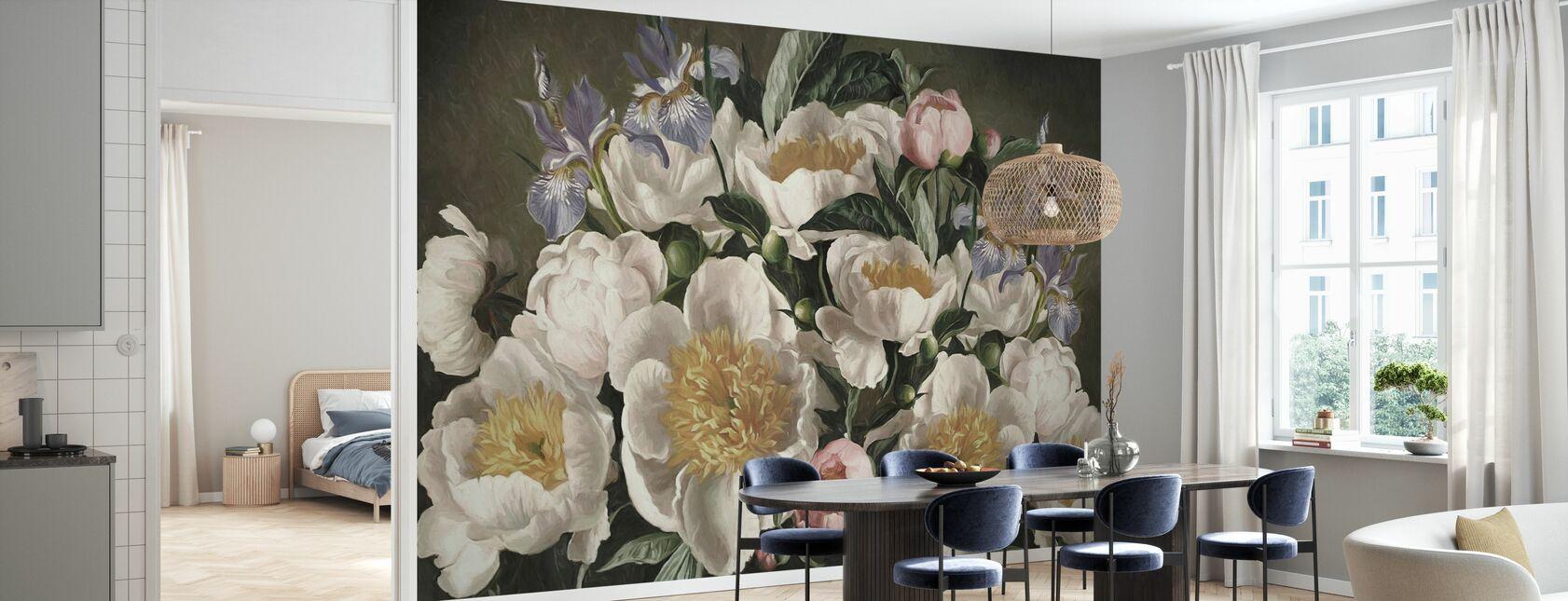 Iris and White Pions - Wallpaper - Kitchen