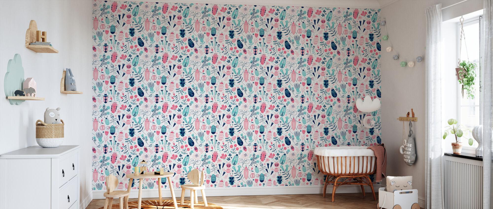 Beetles and Flies - Wallpaper - Nursery