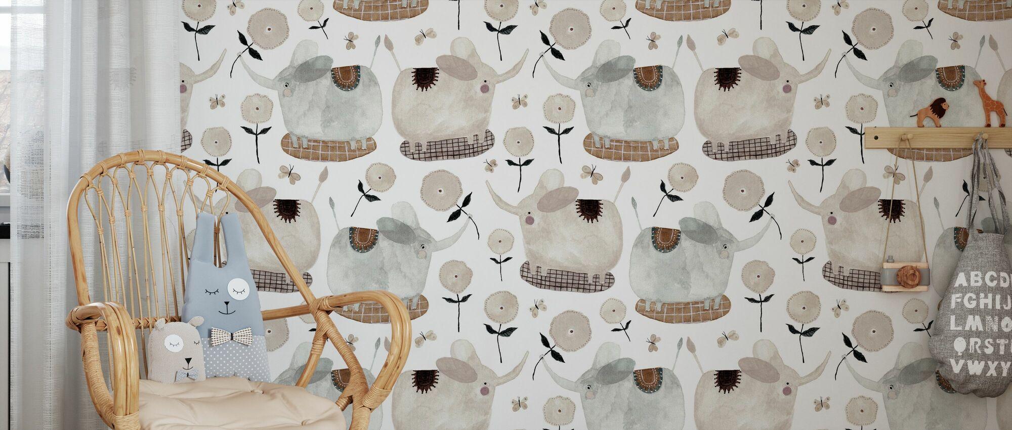 Olifanten en bloemen - Behang - Kinderkamer