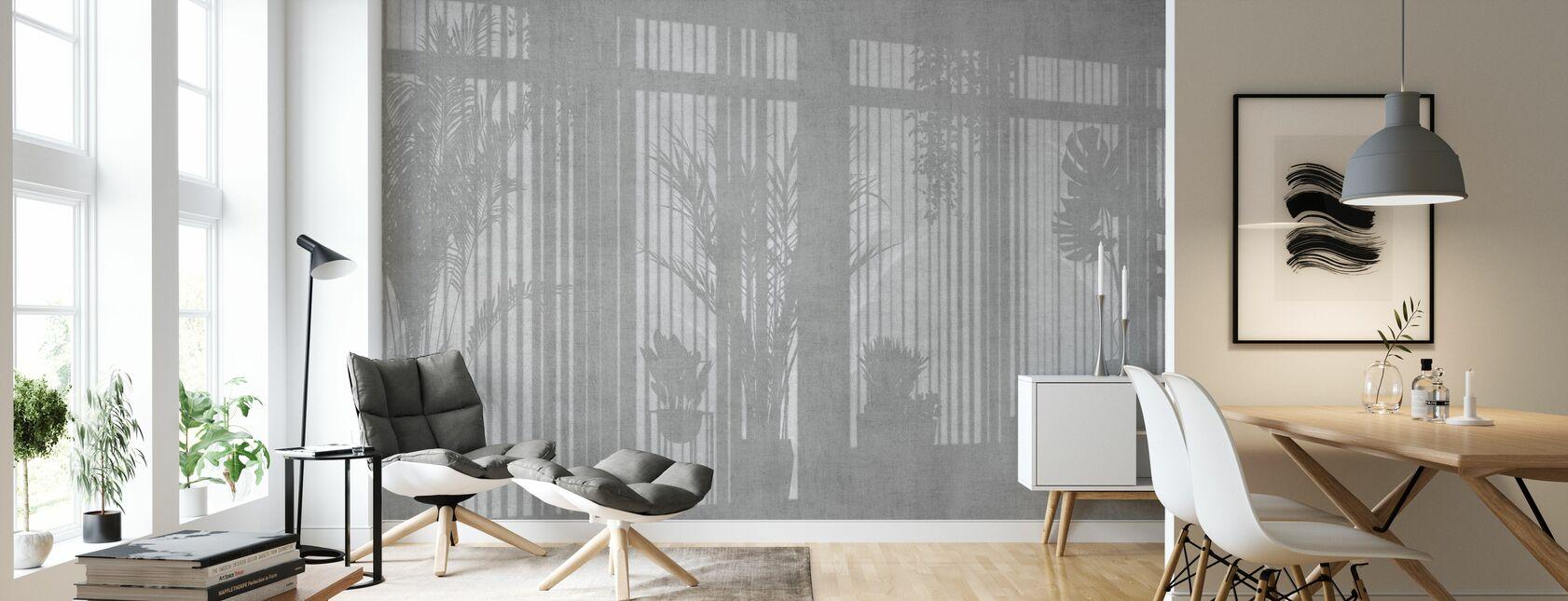 Soligt fönster - Grå - Tapet - Vardagsrum