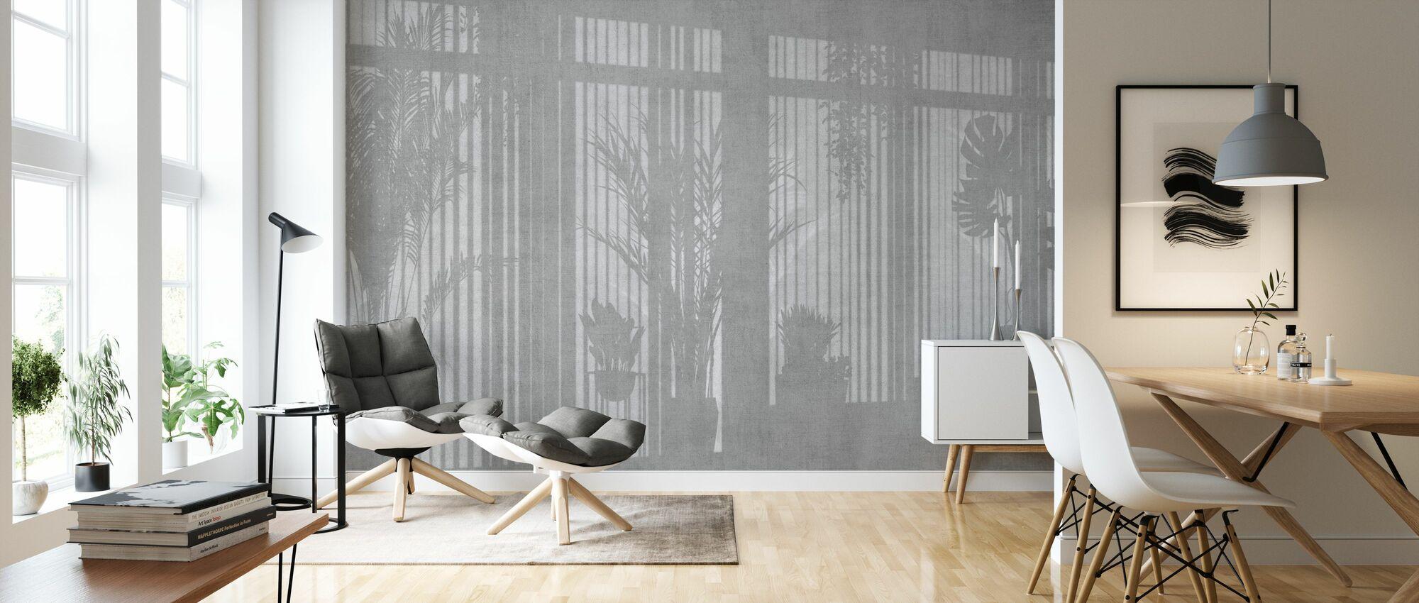 Sunny Window - Gray - Wallpaper - Living Room
