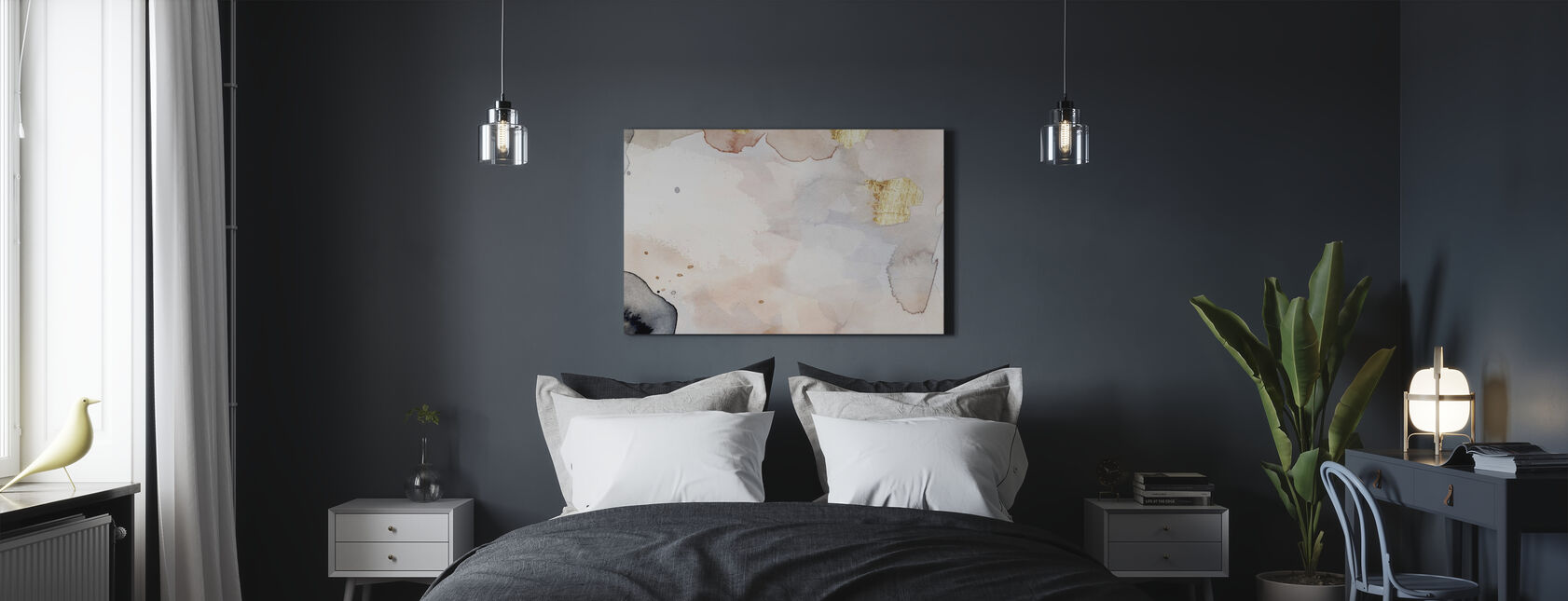 Indigo Blush and Gold - Canvas print - Bedroom