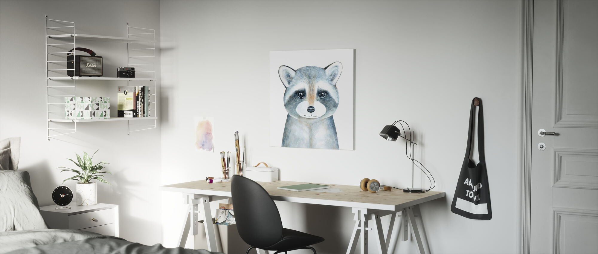 Raccoon Watercolor Portrait - Canvas print - Kids Room