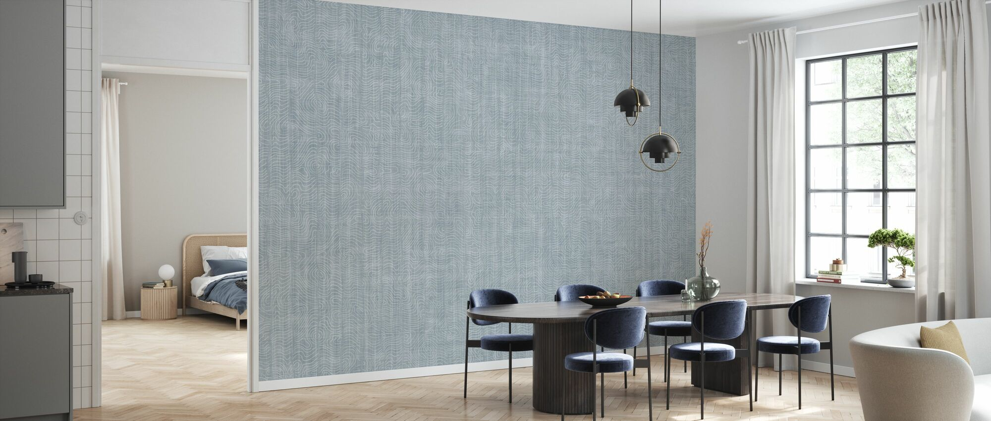 Nami - Misty Blue - Wallpaper - Kitchen