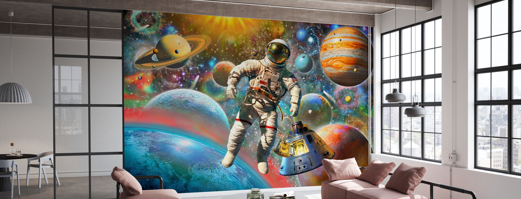 Astronaut Floating in Space - Wallpaper - Office