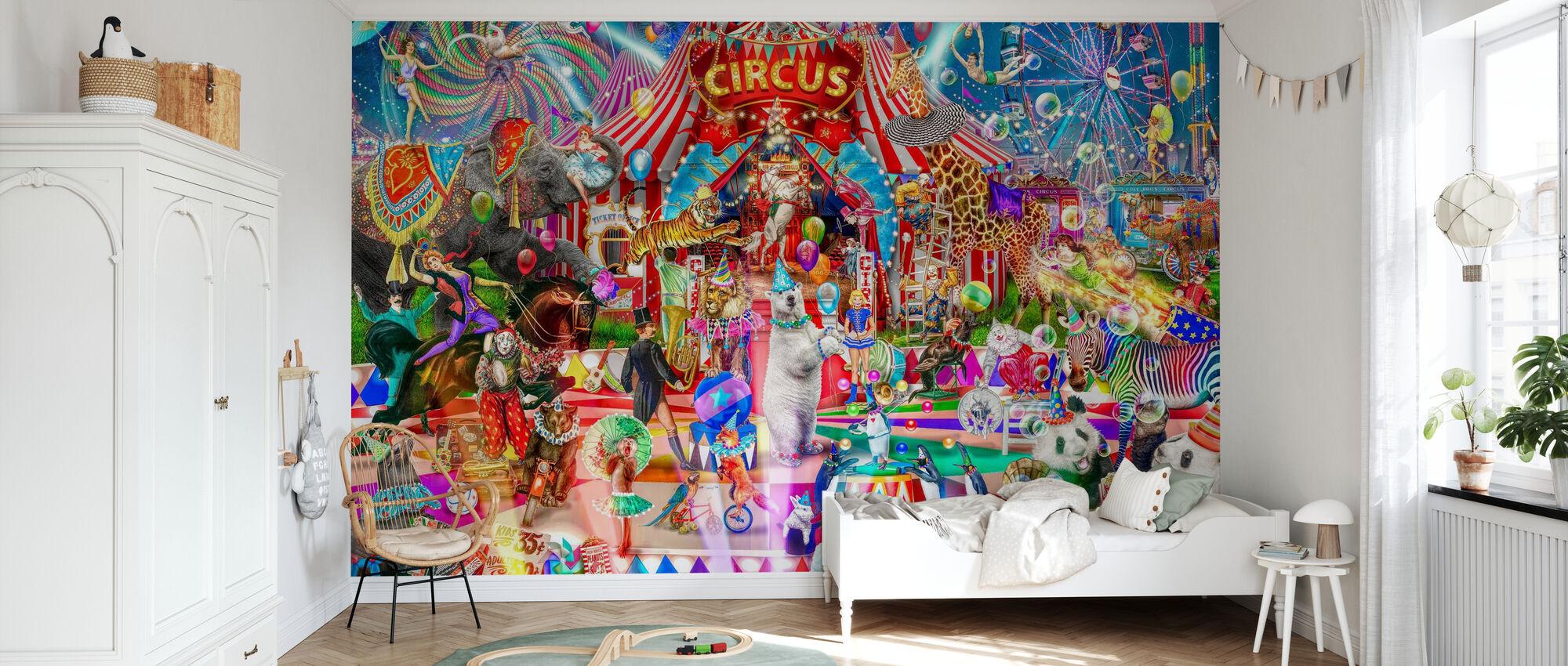 Nacht in het Circus - Behang - Kinderkamer