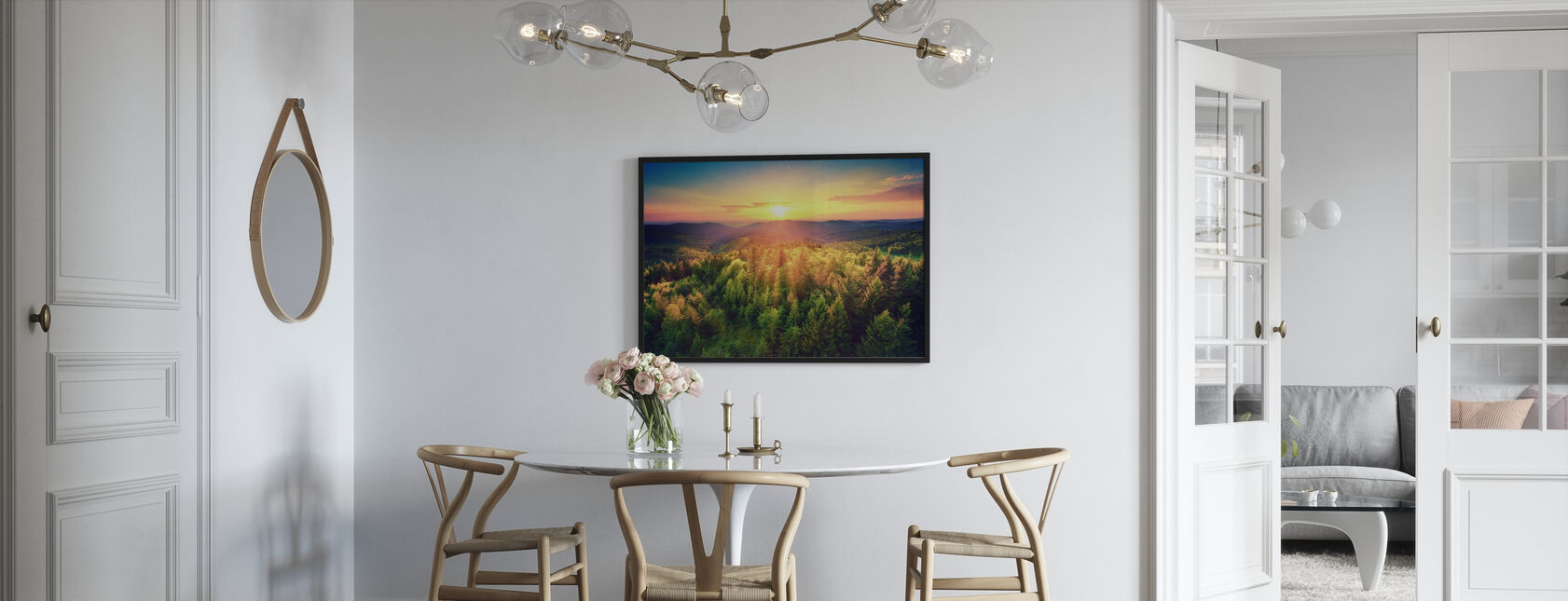 Sunset Over the Forest - Framed print - Kitchen