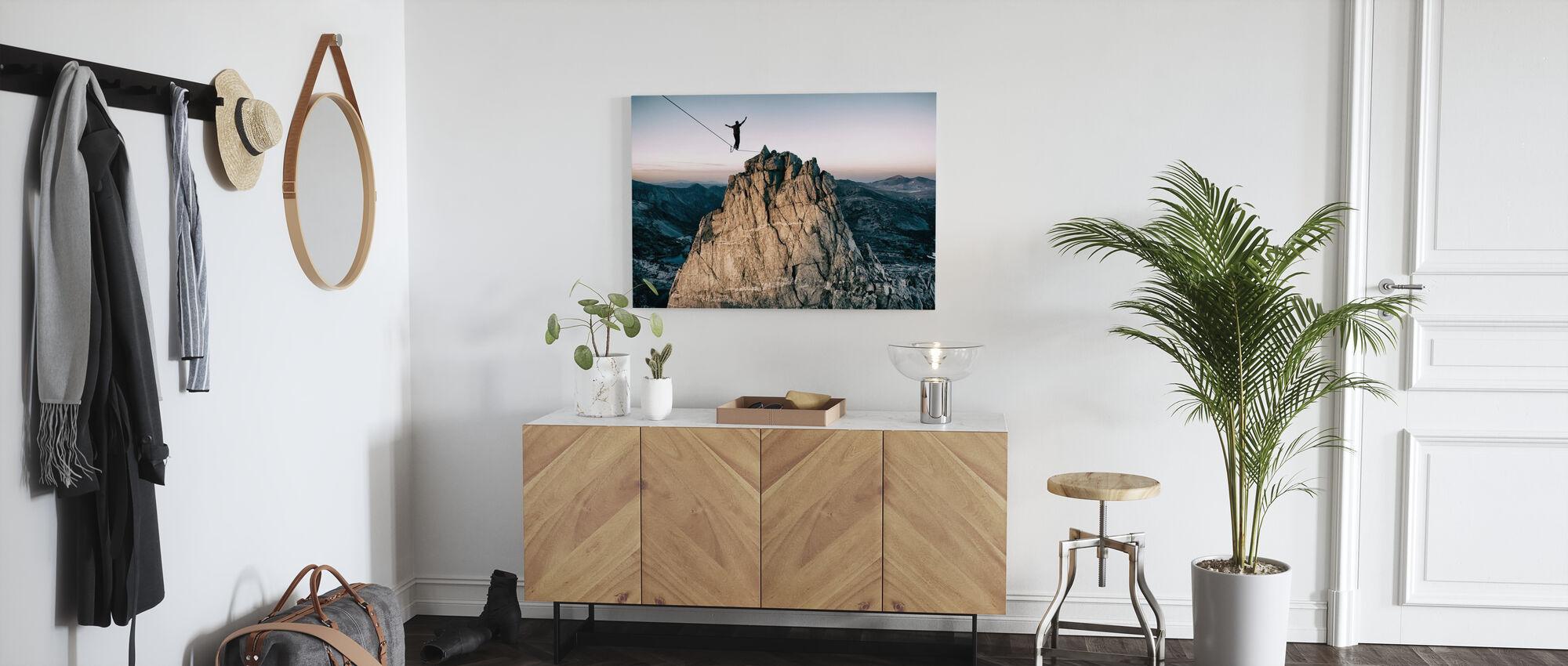 Slackline in the Mountains - Canvas print - Hallway