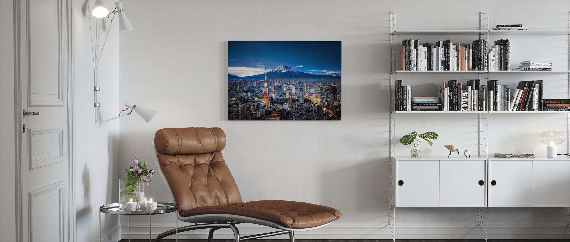 Mt Fuji and Tokyo Skyline - Canvas print - Living Room