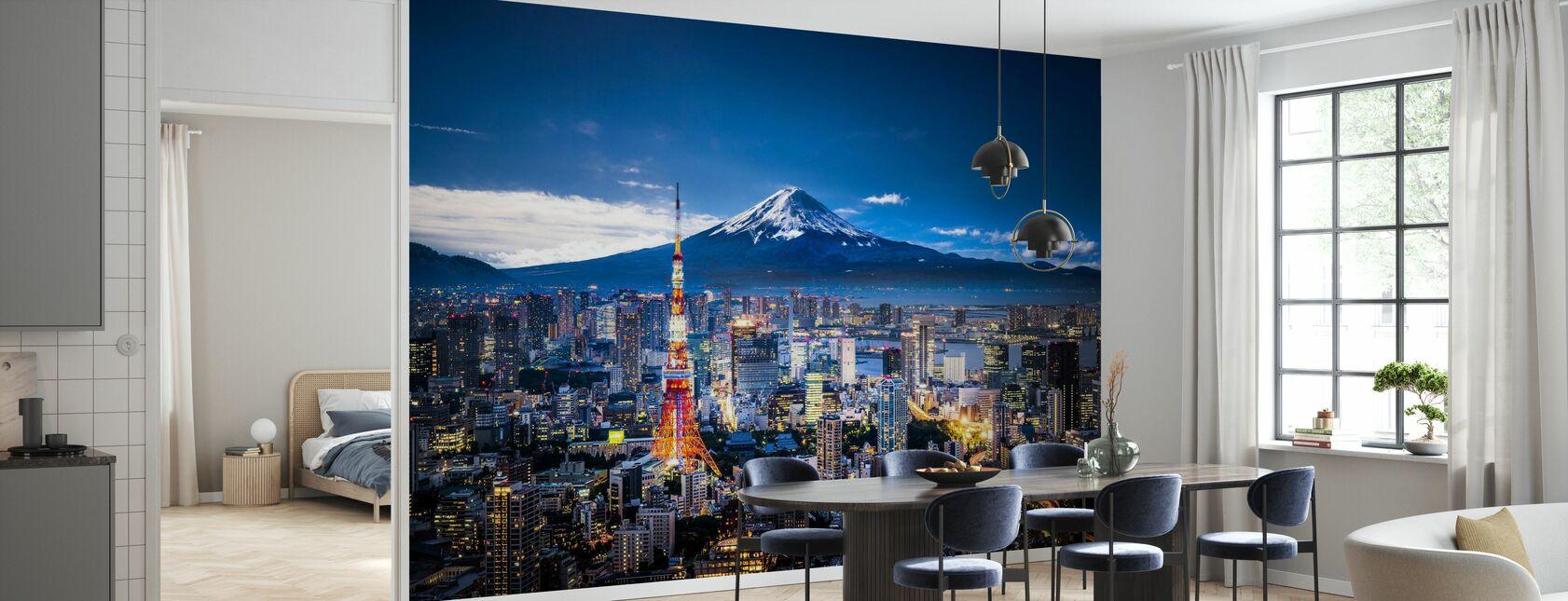 Mt Fuji och Tokyo Skyline - Tapet - Kök