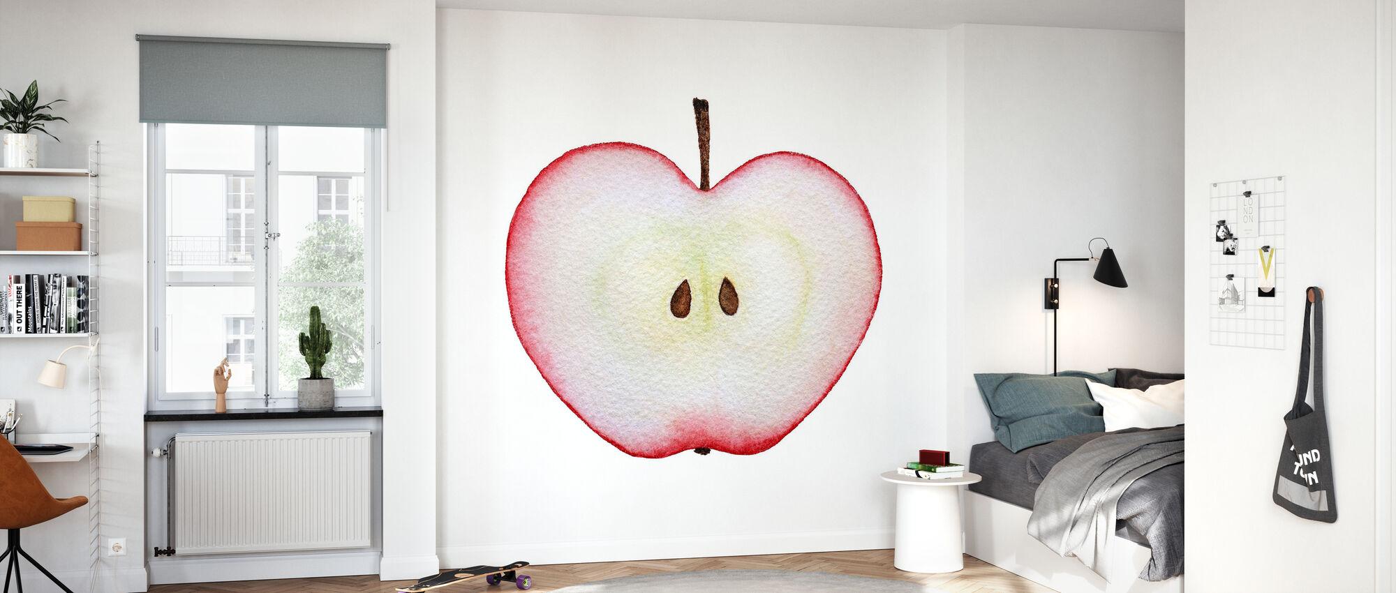 Halbierter roter Apfel - Tapete - Kinderzimmer