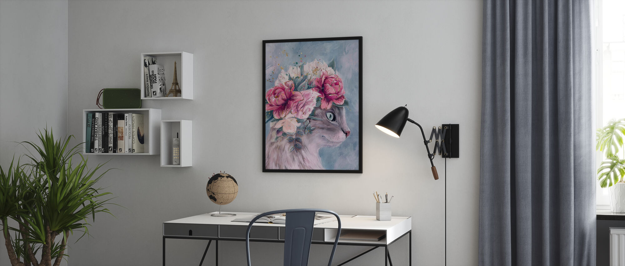 Cat with Bouquet Flowers - Poster - Office