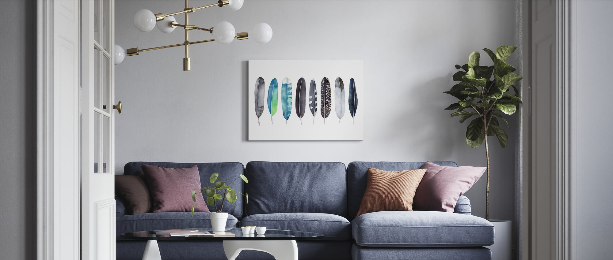 Set of Feathers - Canvas print - Living Room